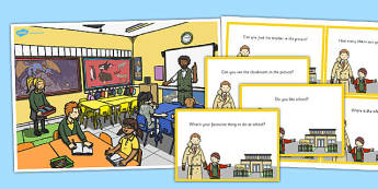 School Scene and Question Cards - school scene, question, cards