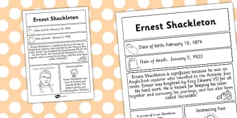 Ernest Shackleton Significant Individual Fact Sheet - fact sheet