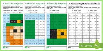 St Patrick's Day Multiplication Mosaic Activity Sheets - 2x, 3x table, 5 x table, multiplication facts, ks1 times tables, y2, year 2