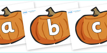 Phoneme Set on Pumpkins - Phoneme set, phonemes, phoneme, Letters and Sounds, DfES, display, Phase 1, Phase 2, Phase 3, Phase 5, Foundation, Literacy