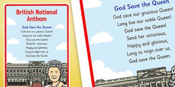 British National Anthem Display Posters
