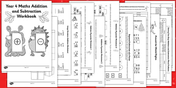 Christmas Themed Year 4 Maths Addition and Subtraction Workbook - christmas, maths, addition, subtraction, workbook