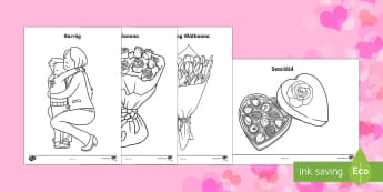 Valentine's Day Colouring Pages - Lá san Vailintín,Valentines Day, grá, croí, love, gaeilge, colouring,Irish