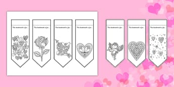 Valentine's Mindfulness Colouring Bookmarks - mindfulness, colouring, bookmarks, colour, valentines day