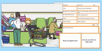 Supermarket Scene Blanks Level 3 Questions - receptive language, expressive language, verbal reasoning, language delay, language disorder, comprehension, autism