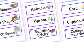 Amethyst Themed Editable Classroom Resource Labels - Themed Label template, Resource Label, Name Labels, Editable Labels, Drawer Labels, KS1 Labels, Foundation Labels, Foundation Stage Labels, Teaching Labels, Resource Labels, Tray Labels, Printable