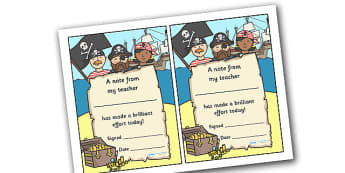 Note From Teacher Brilliant Effort (Pirate Themed) - note from teacher brilliant effort, brilliant effort, note from teacher, notes, praise, comment, note, teacher, teacher's, parents, brilliant, effort, good effort, pirate themed, pirates, themed