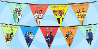 People Who Help Us Display Bunting - bunting, display flags, help