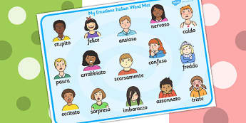 Emotions Word Card Italian - Language, Italy, emotion, visuals