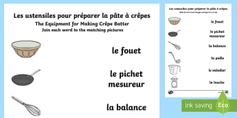 Crêpe Batter Equipment Word and Picture Matching Activity English/French - Batter Pancake, Recipe, KS1, recette, crêpes, KS2, vocabulaire, vocabulary