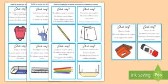 Juego: ¿Qué soy? - Objetos del aula - inferencias, juego, qué soy, objetos del aula, el aula, la clase, emparejar, inferir, información,