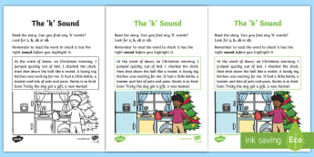 Linguistic Phonics Stage 5 and 6 Phase 3b, 'k' Sound Activity Sheet - Worksheet,  Phase 3b, Northern Ireland, phonemes, sound search, text