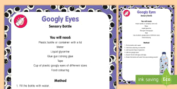 Googly Eyes Sensory Bottle - Ourselves, all about me, eyes, senses, sight, sensory play, baby play, toddler play, exploration, he
