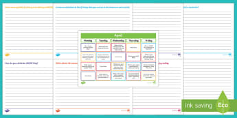 April Writing Prompts Display Calendar - Literacy, April Writing Prompts Display Calendar, ACELY1661, ACELY1671, creating texts, year one, ye