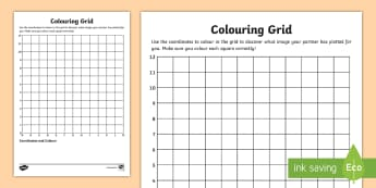 Blank Colouring Grid Activity Sheet - Colouring Grid References Worksheet - coordinates, coordinates worksheet, co-ordinates worksheet, wo