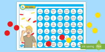 Four in a Row Future Tense Self Checking Board Game - Spanish - Spanish Grammar, 4 in row, 4 en raya, board game, verbs, conjugation, future tense