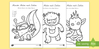 Monster Malen nach Zahlen - Monsters Colour by Number - monsters, colour, number, numbers, numbes, coloyur by number, numbers, M