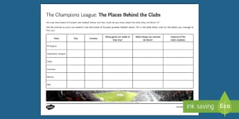 Champions League Cities Activity Sheet - football, champions league, europe, cities, worksheet.