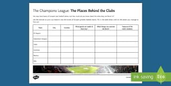 Champions League Cities Activity Sheet - football, champions league, europe, cities, worksheet.