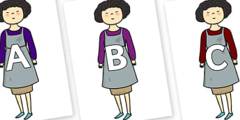 A-Z Alphabet on Aladdins Mother - A-Z, A4, display, Alphabet frieze, Display letters, Letter posters, A-Z letters, Alphabet flashcards