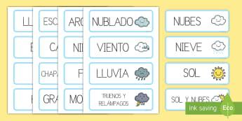 Tarjetas de vocabulario: El tiempo - tarjetas de vocabulario, el tiempo, tiempo, sol, nubes, escarcha, lluvia, vocabulario, palabras, sol
