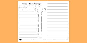 Totem Pole Legend Activity Sheet - canada, totem pole, legend, activity sheet, activity, worksheet