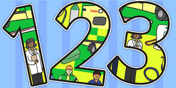 Ambulance Service Themed A4 Display Numbers - ambulance, numbers