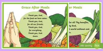 Grace After Meals A4 Display Poster - CfE Catholic Christianity, prayers, mass responses, Grace After Meals.,Scottish