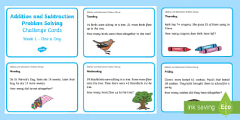 Addition and Subtraction Problem Solving Challenge Cards 1 - ROI Numeracy - Problem Solving, maths, word problems, Irish