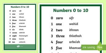 Numbers 0 to 10 English Arabic Phonetic A4 Display Poster - numbers, Arabic phonetic, poster, 1 to 10