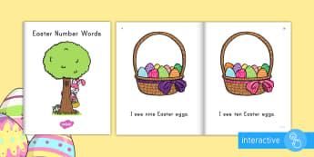 Easter Number Words Emergent Reader eBook - emergent reader, emergent readers, emergent reading books, emergent reading texts, sight word reader