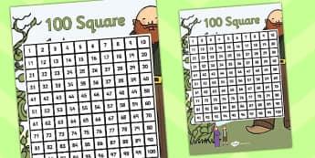 Jack and the Beanstalk 100 Square - jack, beanstalk, 100, square