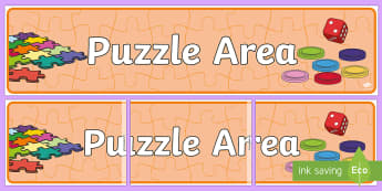 Puzzle Area Display Banner - Games Area, Puzzle, Classroom Area Signs, KS1, Board Games, Banner, Foundation Stage Area Signs, Classroom labels, Area labels, Area Signs, Classroom Areas, Poster, Display, Areas