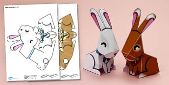 Simple 3D Paper Bunny Decoration Printable - simple, 3d, bunny, printable, display, paper model, paper, model, paper craft, craft