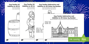 Guy Fawkes Themed Addition and Subtraction to 30 Roll and Colour Activity