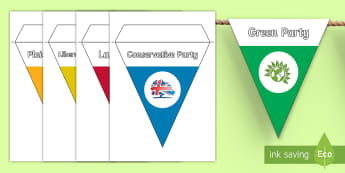 General Election Parties 2017 Display Bunting - general election, manifesto, labour, conservative, liberal democrat, uKIP, election, vote, voting, p