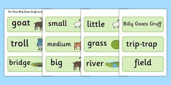 The Three Billy Goats Gruff Word Cards - Three Billy Goats Gruff, traditional tales,word cards, tale, fairy tale, goat, billy goat, troll, sweet grass, bridge, flashcards