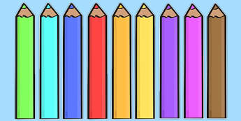 Editable Coloured Pencils - Display, editable, label, pencil, colour display