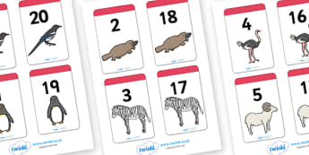 Number Bonds to 20 Matching Cards (Animals) - Number Bonds, Matching Cards, Animal Cards, Number Bonds to 20