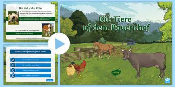Farm Animals PowerPoint German - Animals, Farm animals, German, Bauernhof, Tiere auf dem Bauernhof, MFL, Languages