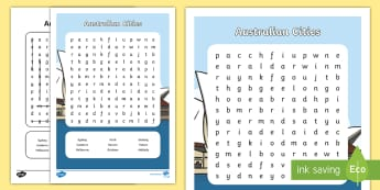 People and Places - Australian Cities Word Search - People and Places, English, Geography, Spelling, Word Search, Word Find, Word Hunt, australia, city,
