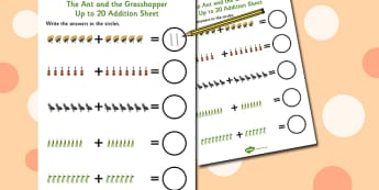 The Ant and the Grasshopper Up to 20 Addition Sheet - Grasshopper
