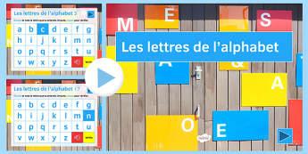 L'alphabet en Français Présentation -  EAL, translated, letters