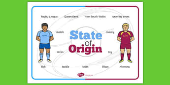 State of Origin Word Mat