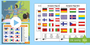European Neighbours' Day Flag Quiz Pack - ks2, flags, geography, places, Europe, European countries, ks2 Europe, European flags, european flag