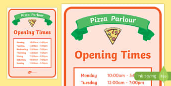 Pizza Parlour Role Play Opening Times