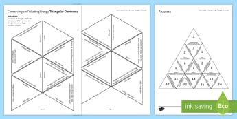 Conserving and Wasting Energy Tarsia Triangular Dominoes - Tarsia, gcse, physics, heat energy, energy, energy waste, energy use, conserving energy, conduction,
