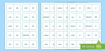 Numbers 0 to 20 Dominoes English/Spanish - Spanish games, Spanish dominoes, Spanish numbers, Spanish numbers to 20, Spanish group games.,Scotti