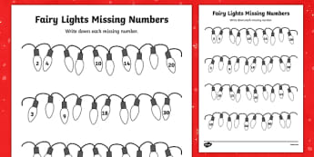 Christmas Fairy Light Missing Numbers Counting in 2s, 3s, 5s and 10s Activity Sheet - christmas, fairy lights, fairy, lights, missing numbers, activity, sheet, worksheet