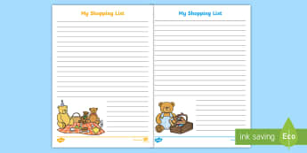 Teddy Bear's Picnic Themed Shopping List Writing Template - Teddy Bear's Picnic Themed Shopping List Writing Template - vegtables, vegatbles, Teddy Bear's Pic